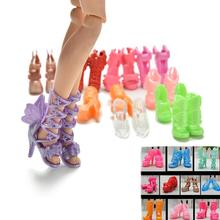 Wholesale 20Pcs/Lot Color Random Fashion Fixed Styles Doll Shoes Bandage Bow High Heel Sandals for Barbie Dolls Accessories Toys(China)