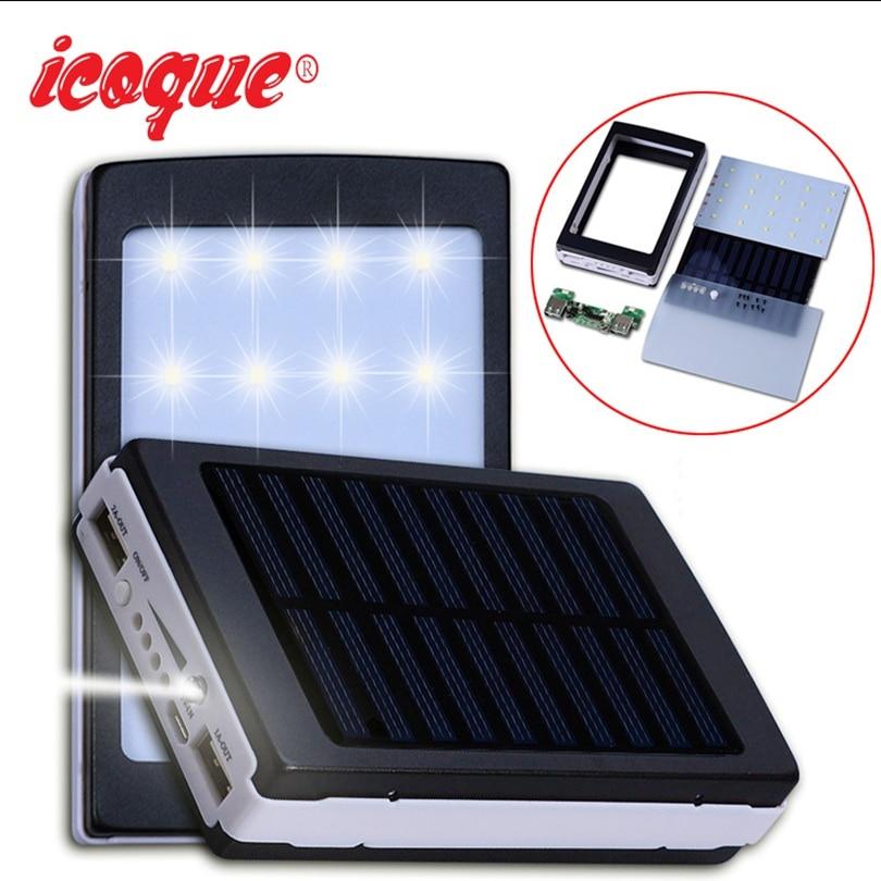 Icoque 18650 солнечной Мощность Bank Дело DIY коробки Dual USB Kit Телефон Зарядное устройство фонарик 5×18650 Мощность банк Портативный pover Мощность банк