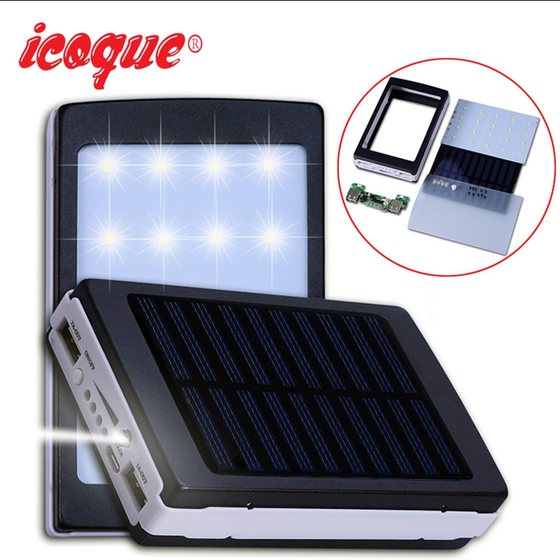 icoque 18650 solar power bank case diy box dual usb kit. Black Bedroom Furniture Sets. Home Design Ideas