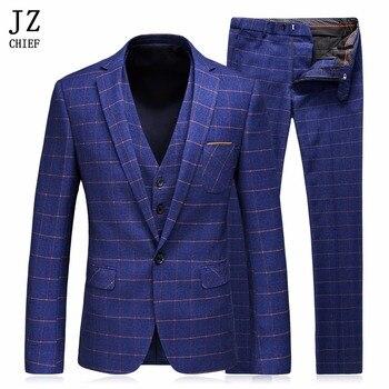 JZ CHIEF, новинка 2018, мужской костюм из 3 предметов, приталенный Свадебный деловой костюм, клетчатый Блейзер, темно синий шерстяной костюм, пиджа