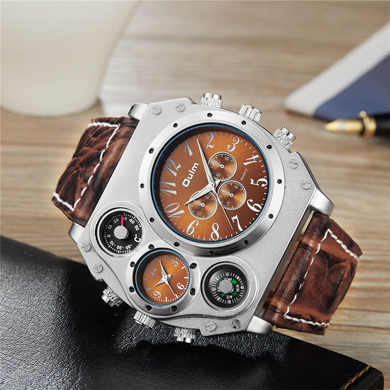 Oulm Large Big Dual Time Zone Sports Quartz Watches Men Casual Wristwatch Thermometer & Compass for Decoration Clock Male oulm 3595 quartz watches men brand rectangle fashion sports watch three time zone men s wristwatch male clock