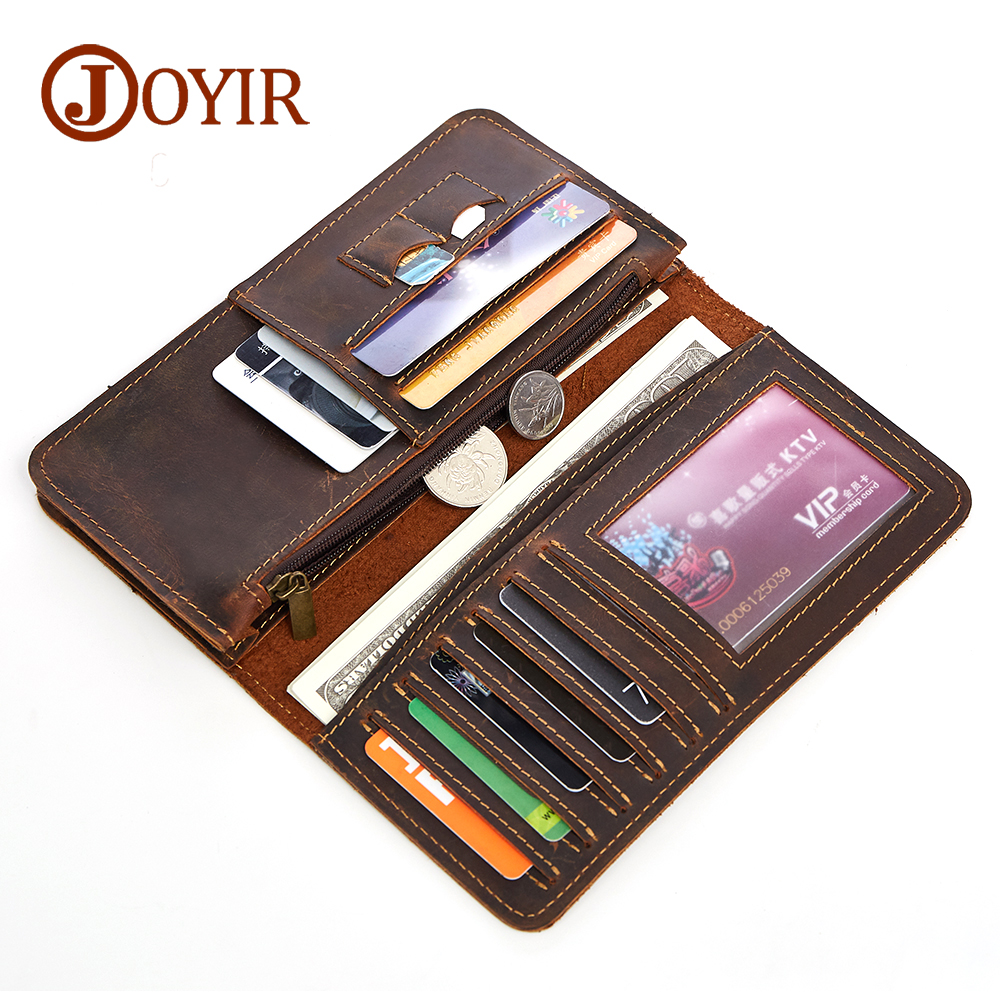 JOYIR Men Genuine Leather Wallet Men Coin Purse Vintage Long Men Wallets Perse Solid Card Holder Clutch Carteira Hombre for Male joyir genuine leather men wallets vintage zipper long wallet male men clutch bags slim coin purse men leather wallet card holder
