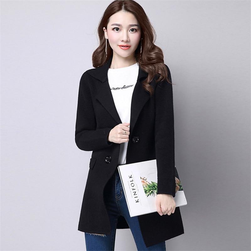 gray black Femmes Taille Cardigan Beige Automne Plus Manteau Veste Pardessus Chandail Harajuku Élégant Mode pourpre red Long Femelle La Coréenne Wine Tricoté tvWpwqnTH