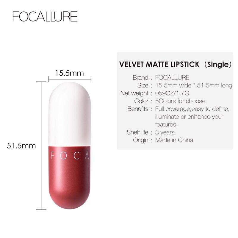 FOCALLURE New matte lipstick waterproof red brown velvet long lasting lipstick waterproof set women lips maquiagem 4