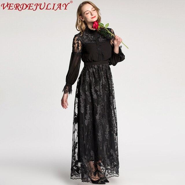 a1f97e30f5 Doce Longo Vestidos Primavera Verão 2019 Moda Feminina Patchwork de Flores  de Renda Bordado Preto
