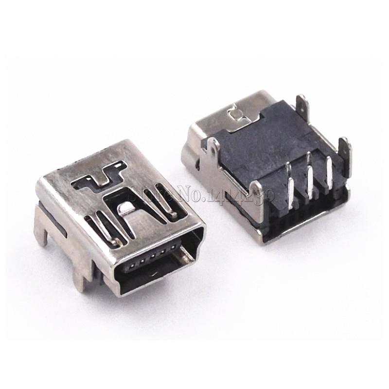 10Pcs Mini USB Female 5 Pin Type B Right Angles PCB Socket Connectors 2 Legs##