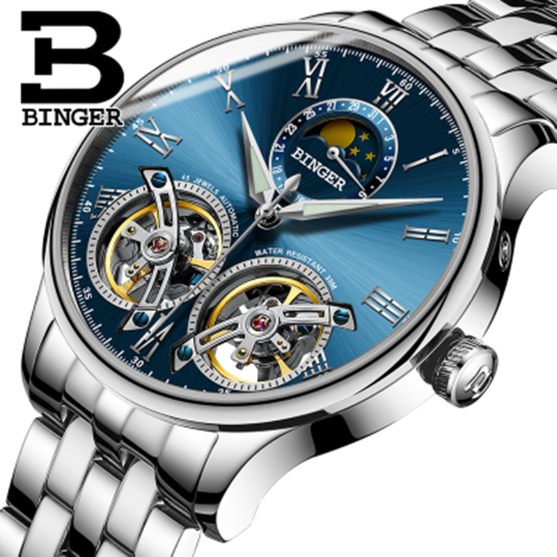 Genuine Switzerland BINGER Brand Men Self-wind waterproof full steel automatic mechanical male fashion Two Tourbillon watch недорго, оригинальная цена