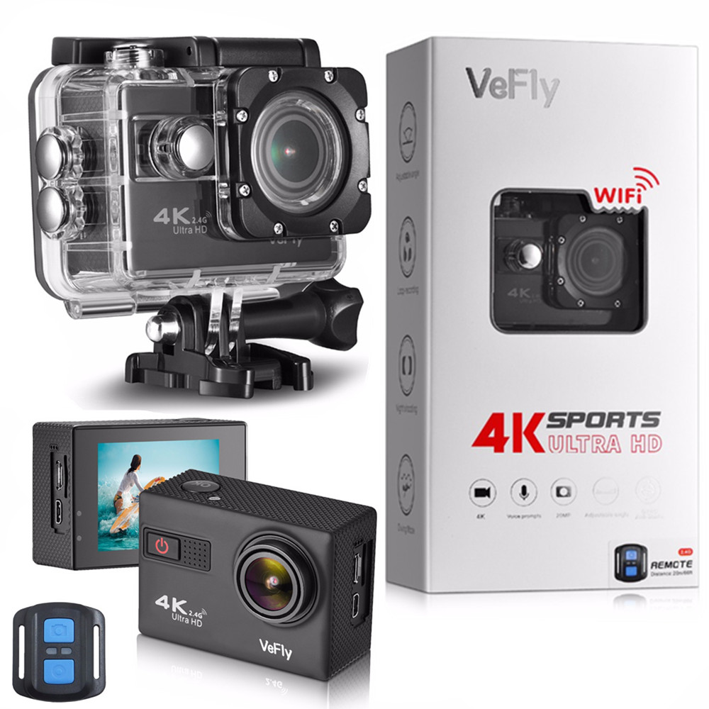 VeFly 4K Ultra HD sport action camera, the waterproof Wi-Fi go pro cam with Anti-Shake electronic GYRO wifi car video kamera 2017 arrival original eken action camera h9 h9r 4k sport camera with remote hd wifi 1080p 30fps go waterproof pro actoin cam