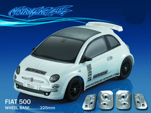 купить 1set FIAT 500 1/10 1:10 M car PC body shell 225mm wheelbase Transparent clean no painted drift body shell for RC CARTEN M car дешево