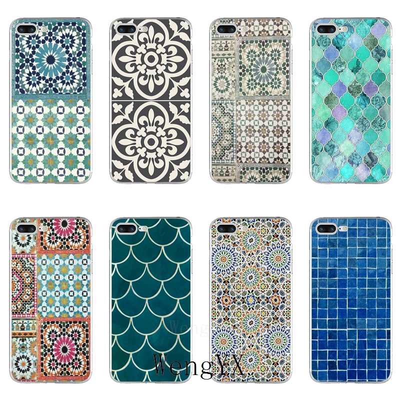 art Decorative Moroccan Tile TPU Soft case For Samsung Galaxy S10 A6 A7 A8 A9 J8 J6 J4 prime plus A10 A30 A40 A50 A60 A70