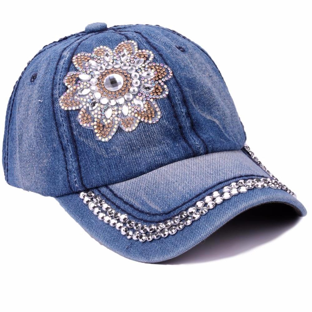 Spring Summer Denim Baseball Cap Women Rhinestone Floral Snapback Hat Caps For Girls Casquette Gorras Rivet Bone Hip Hop Cap