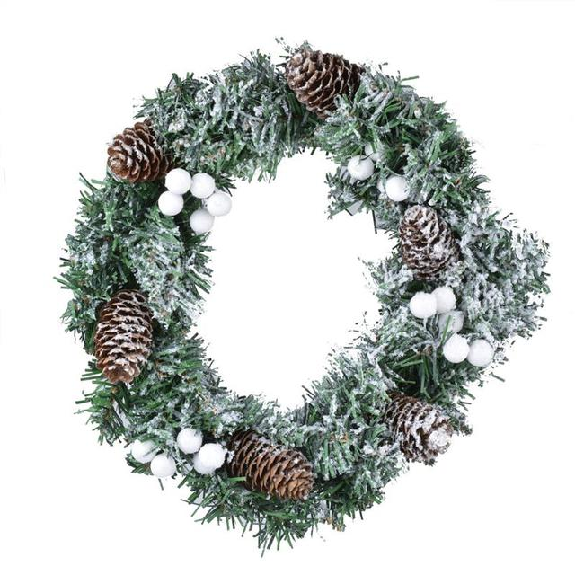 11 8 Christmas Wreath Creative Pinecone Snow Decor Outdoor For Door Window