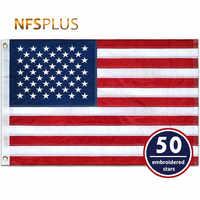 Haftowane flaga ameryki USA 3x5 Ft trwałe nylonowe szyte paski mosiężne przelotki 90x150cm USA flagi i banery na zewnątrz Home Decor
