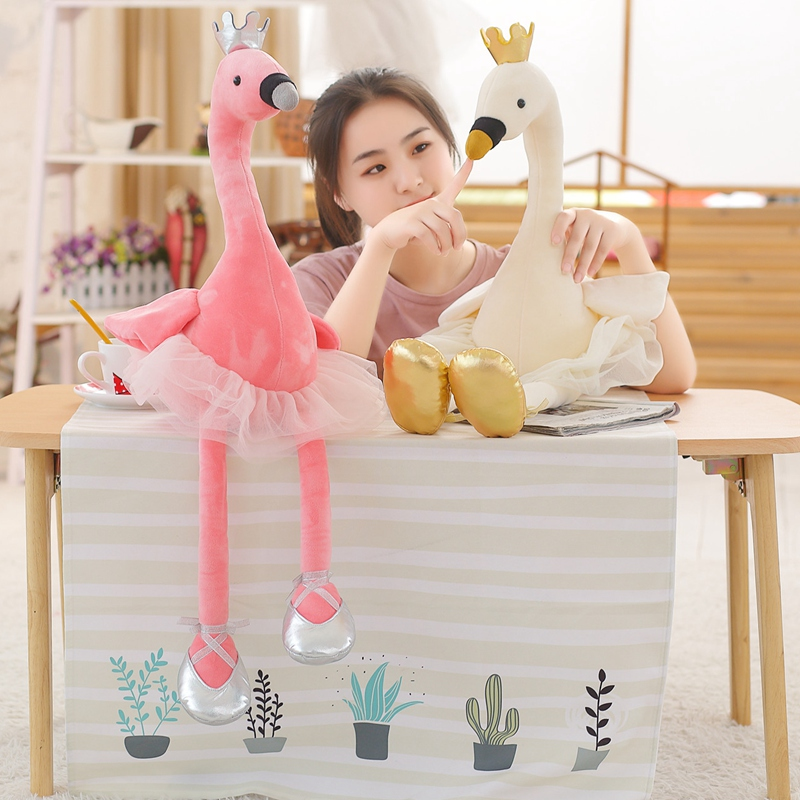 Cute Swan & flamingo Plush Toys with crown, Animal Plush Toys, Children's Toys, Baby Toys, Home Decor 45cm chinese cheap plush rose pink flamingo stuffed cartoon animal keychain cute doll toys for home decor baby gifts for kids