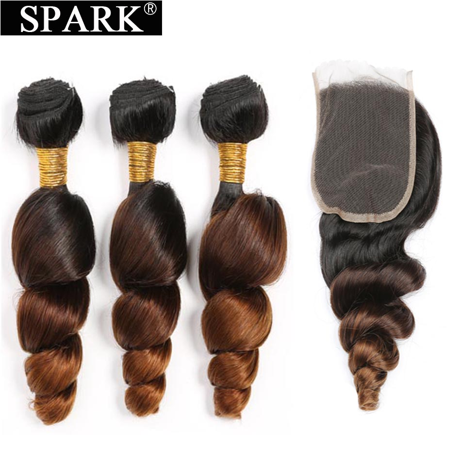 Spark Ombre Brazilian Loose Wave Bundles with Closure Free Part Remy Hair Extension 1B/4/30 Human Hair Bundle with Lace Closure