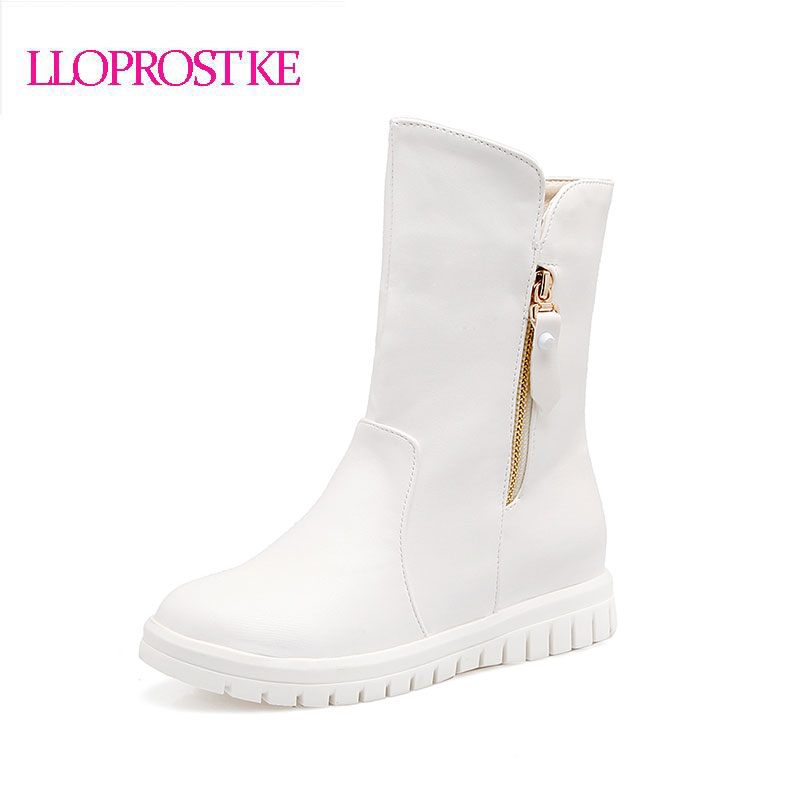 Lloprost Ke women ankle Boots Increasing Heel Shoes Winter Boots platform snow boots round toe short boots botas Plus Size GL040 flat with bow ankle boots shoes style women boots round toe platform snow boots for women fashion flock short outdoor shoes