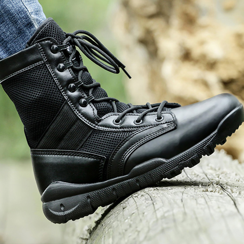 Summer Men's Breathable Military Tactics Boots Lightweight Sports Hiking Boots Mesh Army Combat Boots Hunting Training Shoes