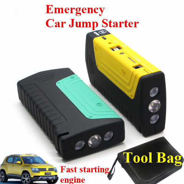 High Power 9000mAh Multi-Function 12V Car Jump Stater 400A Peak Auto EPS 2USB Power Bank Safety Hammer SOS Lights Free Ship