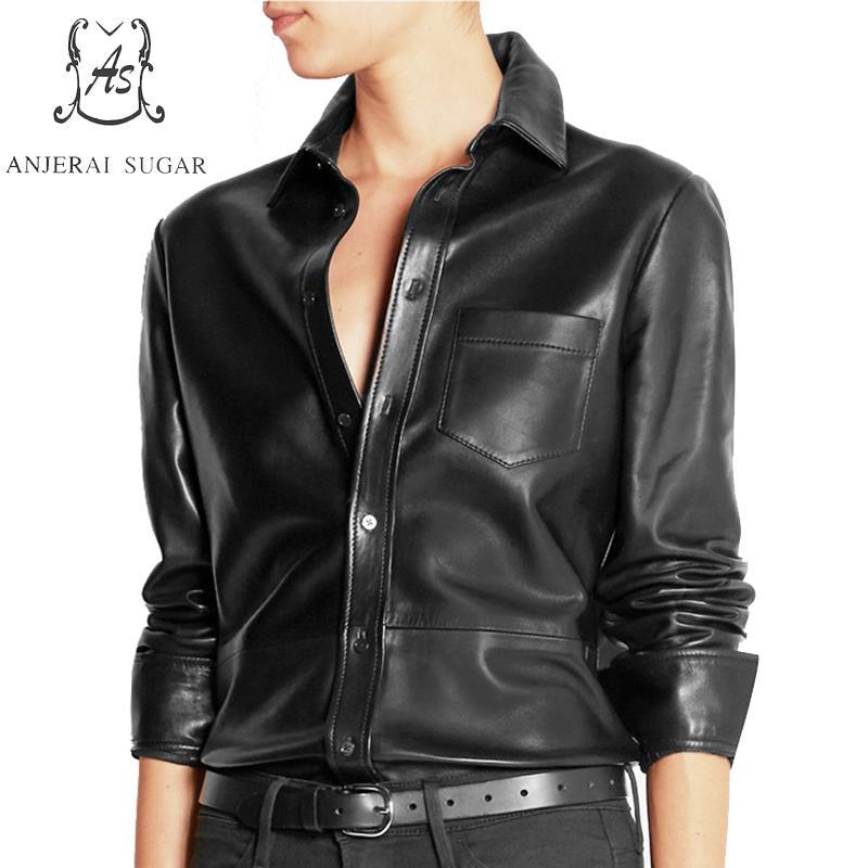 Spring autumn top women blouse real Sheepskin leather Shirts black sexy Retro long Sleeve blusa big size mujer de moda camisa