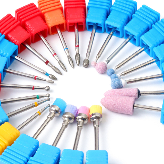 1pcs Mill Ceramic Diamond Nail Drill Bit Brushes Ball Stone Cuticle Cutter Manicure Machine Rotary Burr Pedicure Tools BEGS/M/S