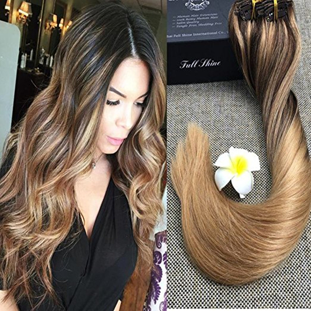 Full Shine 9 Pcs Brown Sombre Balayage Hair Extension Color 4 Fading To 27