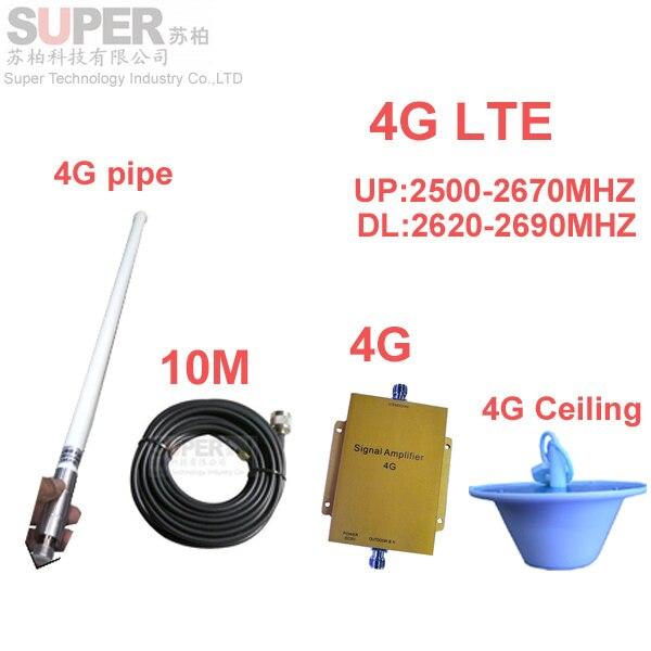 Banda 7 4G LTE 4G repetidor impulsionador w/10 M cable & FDD LTE antena booster amplificador 4G impulsionador do telefone 4G 2500-2570 mhz 2620-2690 mhz