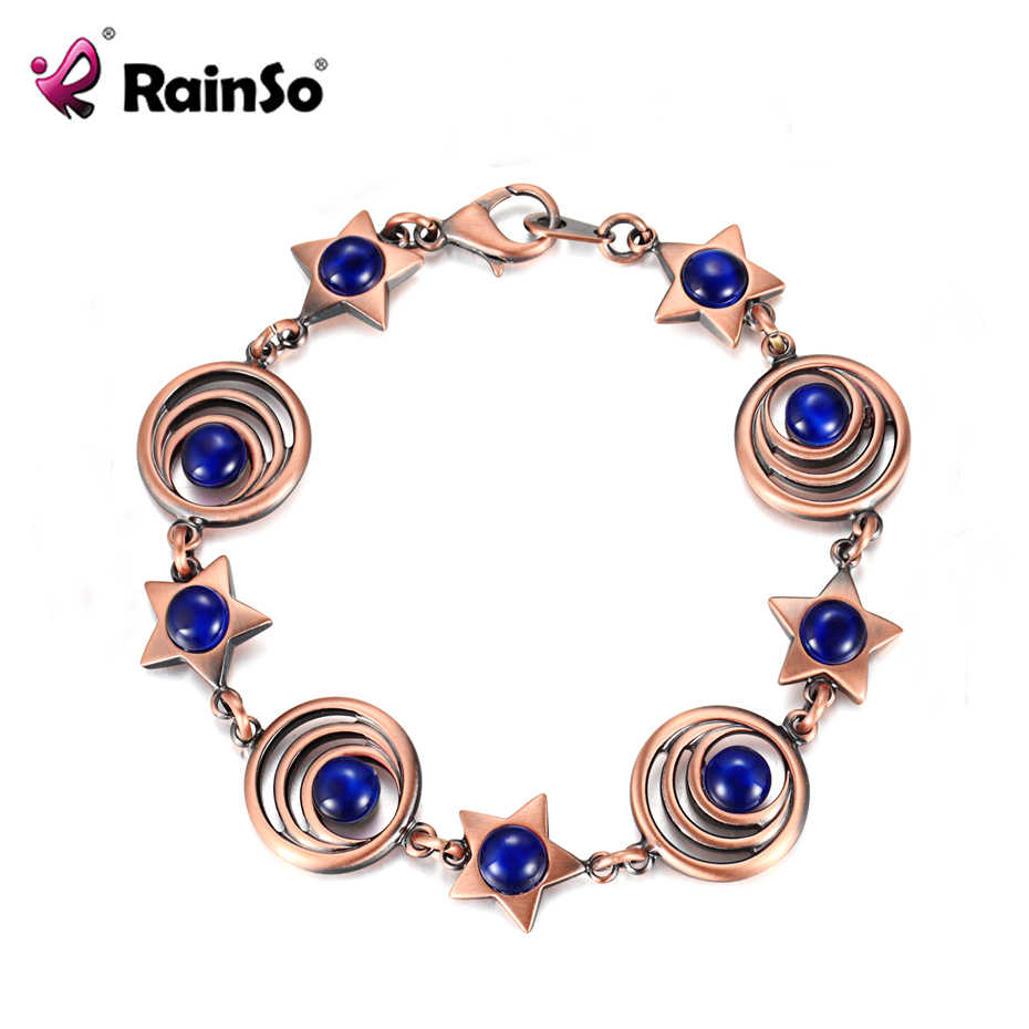 RainSo מכירה לוהטת נחושת מגנטי צמידי עבור נשים אופל Wristbands בריאות לחץ דם צמיד femme Drop-ספינה 2019