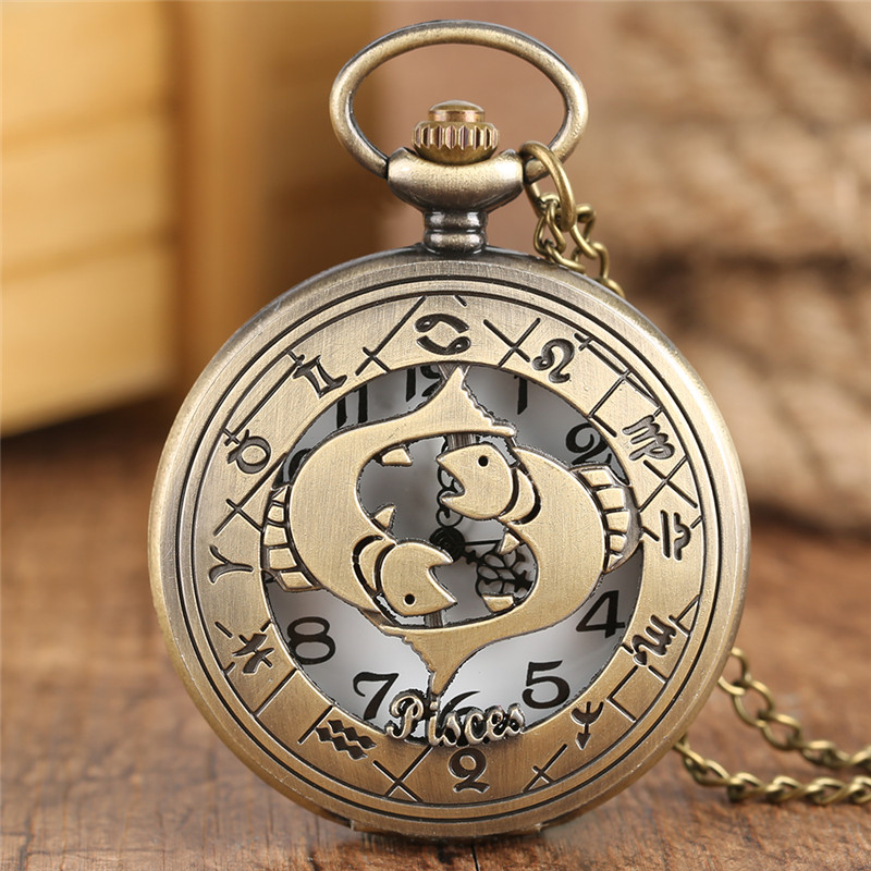 Bronze Pisces Necklace Children Pocket Watch Twelve Constellations Pendant Chain Quartz Watches Women/ Men Fish Gift Bag Reloj mingen fashion paris scene bronze men quartz pocket watch chain souvenir gift