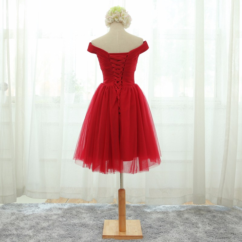 Real sample robe de soiree red Long Evening Dresses 2017 Short ...
