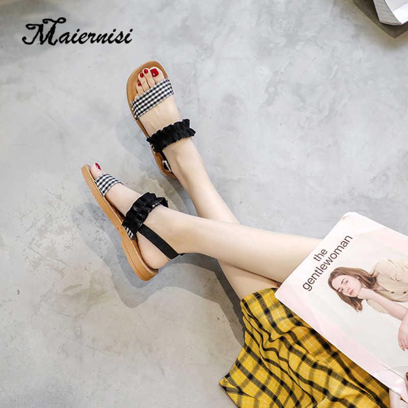 MAIERNISI كبير حجم 35-43 النساء الصنادل النعال الأزياء مفتوحة اصبع القدم أحذية الصيف امرأة صندل مسطح زائد حجم حذاء كاجوال الإناث