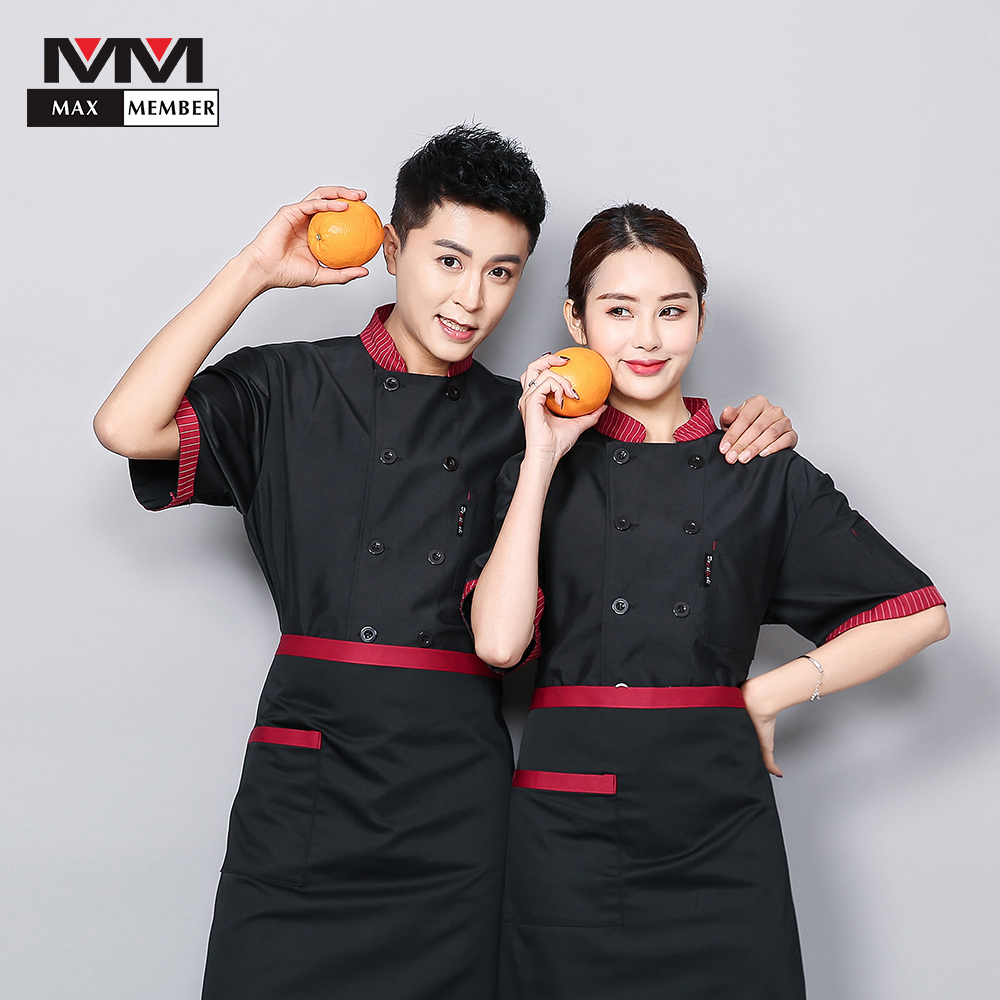 Logo Print Chef Jacket Wholesale Striped Collar Breathable Uniform Women Man Barbers Coffee Shop Afternoon Tea Waiter Overalls