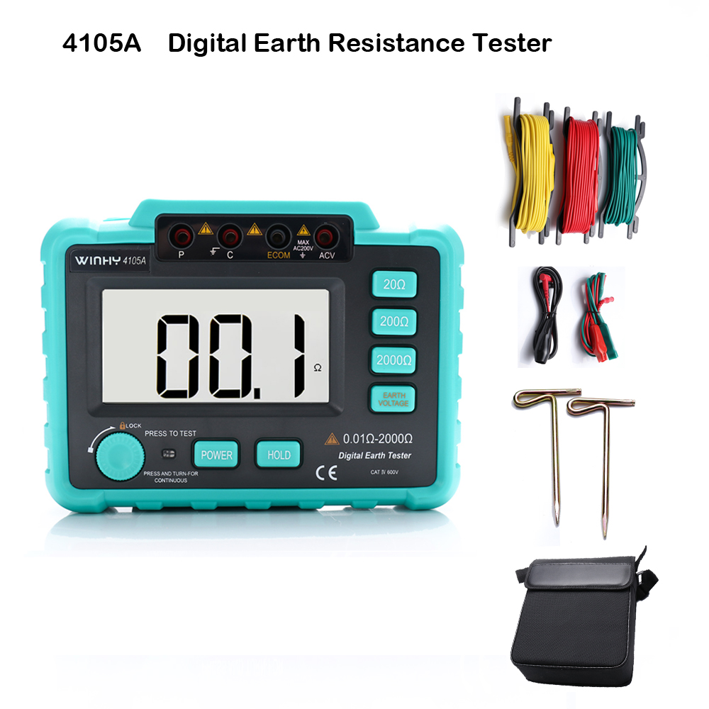 4105A Digital Earth Resistance Tester Ground Resistance Voltage Meter 20/200/200Ohm Measuring Instrument Tools Batter VC4105A victor vc4105a lcd digital multimeter multimetro diagnostic tool tester earth ground resistance voltage tester meter b0410