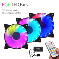 LEORY 3pcs RGB Adjustable LED Cooling Fan 120mm With Controller Remote For PC Computer Cooling Cooler Fan For CPU
