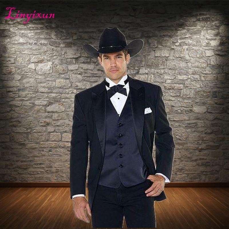 Linyixun (Jakcet+Pants+Vest) Notch Lapel Western Cowboy Style Groom Wear Tuxedos Best Man Wedding Suits For Groom Man Vestido