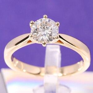 Image 1 - Transgems Solitaire Anello di Fidanzamento 14 k Oro Giallo 1 carat Diametro 6.5mm F Colore Moissanite Anello di Fidanzamento Per Le Donne da sposa