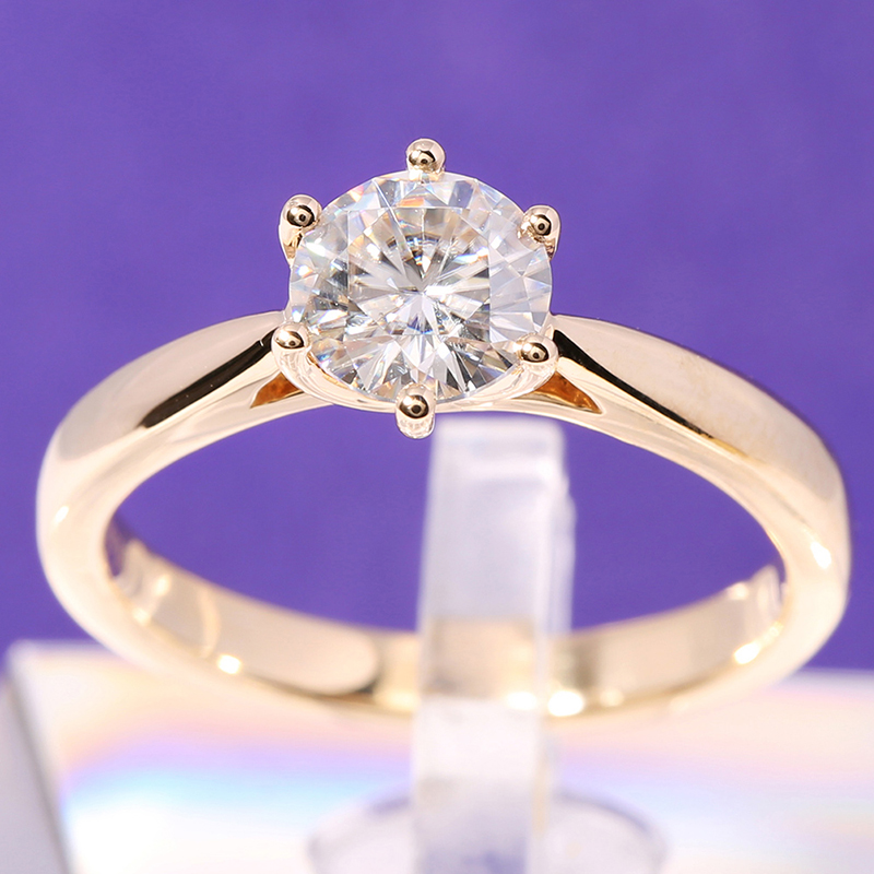 Transgems Solitaire Engagement Ring 14k Yellow Gold 1 carat Diameter 6 5mm F Color Moissanite Engagement Ring For Women Wedding