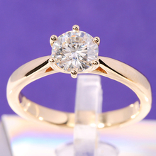 1 ct Carat TransGems DEF Colorless Solitaire Moissanite Engagement Ring 14K Yellow Gold 6 Prongs Women Wedding Band