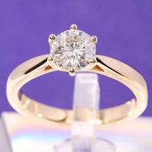 Transgems anillo de compromiso solitario para mujer, oro amarillo de 14 quilates, diámetro de 1 quilate, 6,5mm, Color F, moissanita, boda