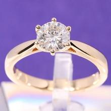 Transgems solitaire anel de noivado 14k ouro amarelo 1 quilates diâmetro 6.5mm f cor moissanite anel de noivado para casamento feminino