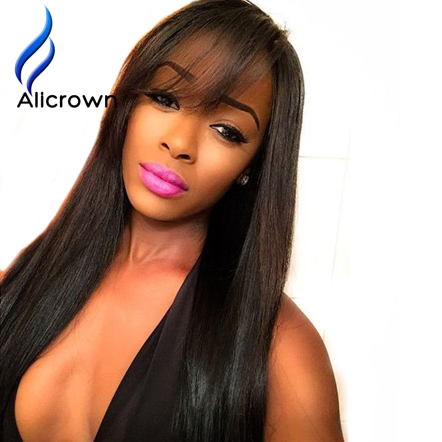 ALICROWN Silky font b Straight b font Full Lace Wig Bleached Knots Top font b Brazilian