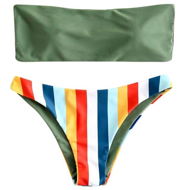 Biquini Pita Pengikat Rambut Seksi Pelangi Bergaris-garis Tabung Bikini Wanita Pakaian Renang Baju Renang Brasil Bikini Set Maillot De Bain Femme