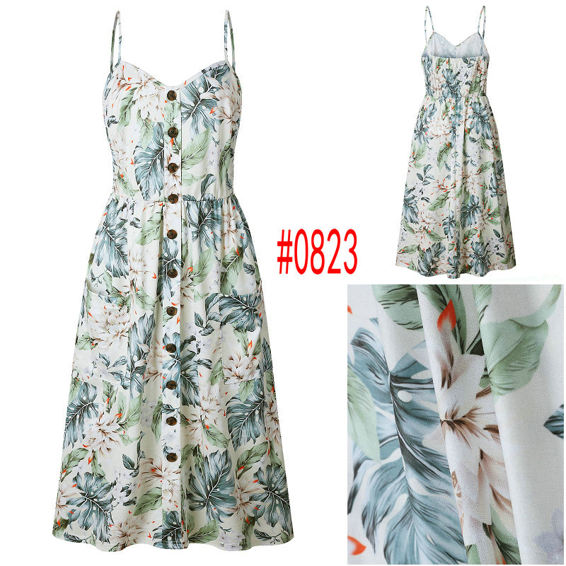 HTB1hKVmbBiE3KVjSZFMq6zQhVXa3 Summer Women Dress 2019 Vintage Sexy Bohemian Floral Tunic Beach Dress Sundress Pocket Red White Dress Striped Female Brand Ali9