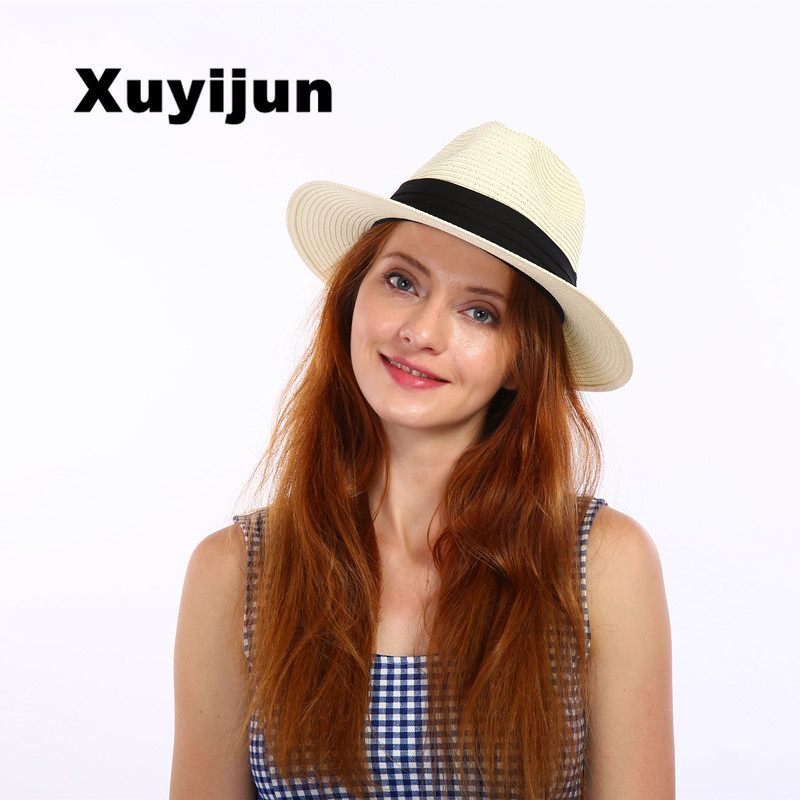 Xuyijun Musim Panas Jerami Topi Wanita Besar Datar Tepi Atas topi Pantai  Sunhat Topi Sombreros de c43fd4f183