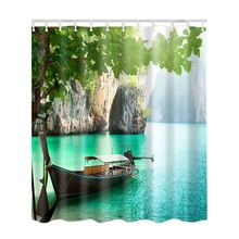 Waterproof Shower Curtains Stone Bathroom Creative Polyester Bath Curtain Bamboo Forest Colorful Tree Deer