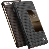 Luxury Genuine Leather Case For Huawei P9 P9 Plus Smart View Flip Real Leather Phone Bag