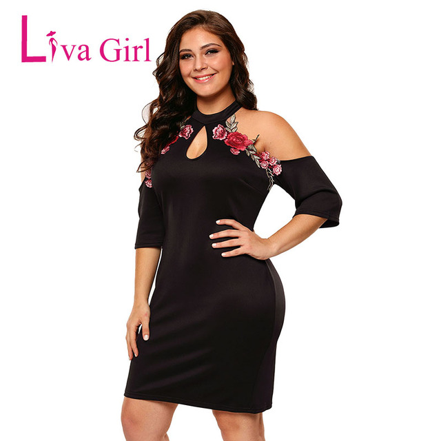 Liva Girl Sexy Cold Shoulder Plus Size Bodycon Party Mini Dresses Women  Short Sleeve Applique Rose Black Large Mujer Vestido XXX 7453f794f578