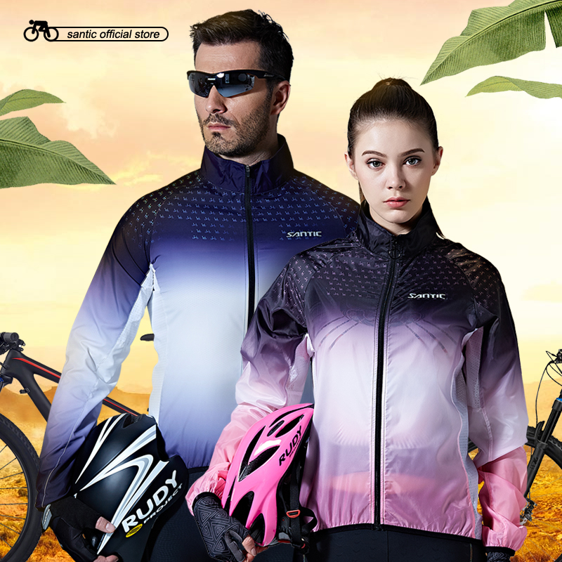 Santic Cycling Skin Coat Men and Women Windproof Small Rain Waterproof Jackets Sun Protective UPF40 Cycling