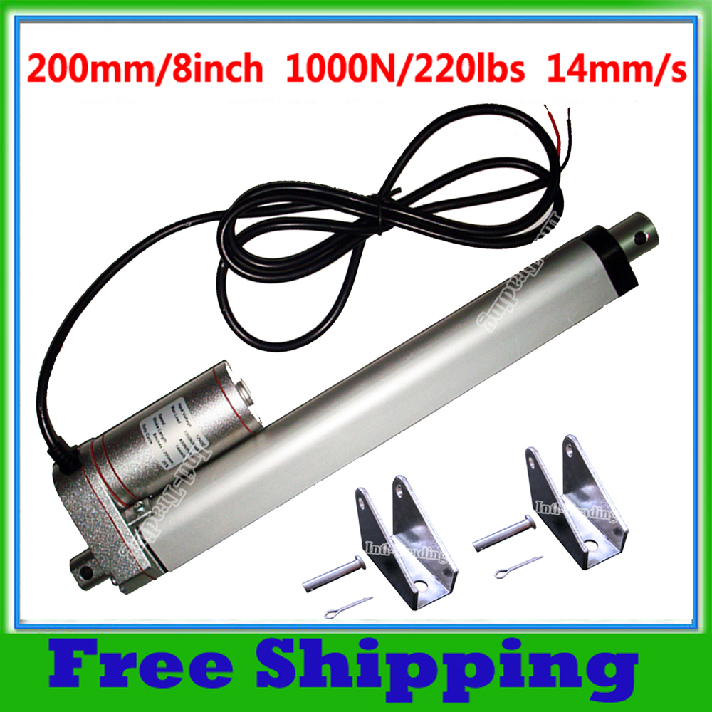 200mm 8Inch Stroke 12V DC Electric Linear Actuator Mounting Brackets 1000N 100KG Load 14mm sec for
