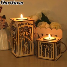 OurWarm Wedding Candle Holder DIY Wooden Candlestick Hanging Led Lantern Tealight Party Supplies Home Decor