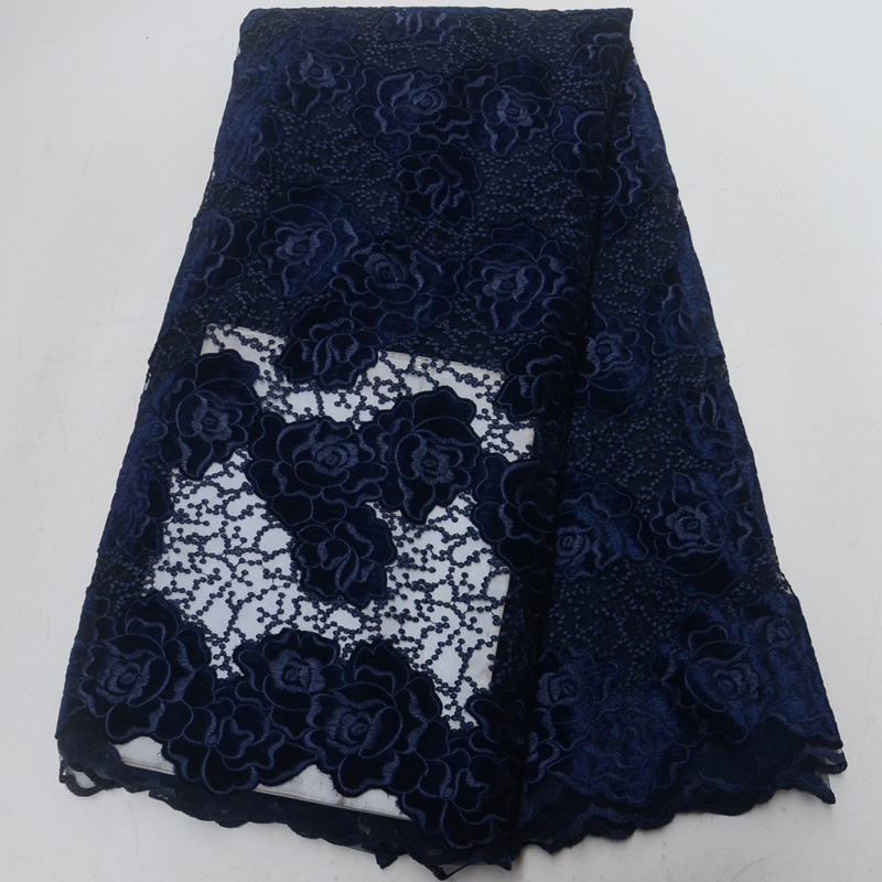 (5 yards/pc) haute qualité africain français net dentelle tissu velours dentelle tissu avec de belles fleurs design pour robe de soirée FLP939-in Dentelle from Maison & Animalerie    1